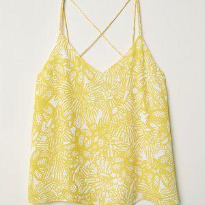 H&M Women' floral yellow white tank top blouse